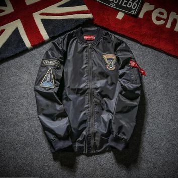 Pilot Jacket Men and women tide brand supreme embroidery baseball clothing motorcycle