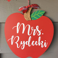 Teacher Sign, Apple Name Sign, Apple Teacher Sign, Classroom Sign, Personalized Teacher Gift, New Teacher Gift, Door Sign, Teacher Name Sign