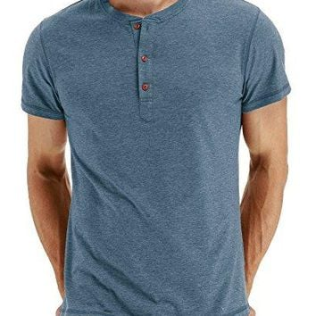 Mr.Zhang Men's Casual Slim Fit Short Sleeve Henley T-shirts Cotton Shirts VG-Blue-US L