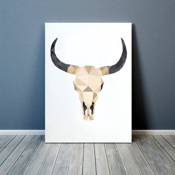 Modern art Bull skull poster Anatomy print Colorful decor TOA89