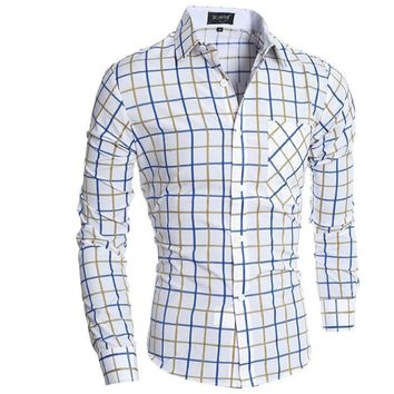 Camisa Cuadros Hombre Brand  Dress Shirts Mens Plaid Shirt Slim Fit  Men Shirt Heren Hemden Camisa Masculina XXL
