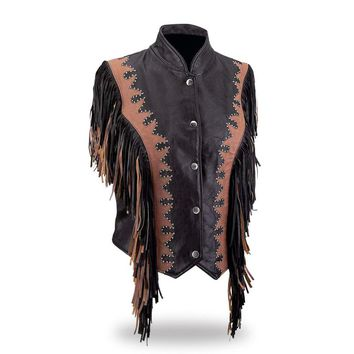 Ladies Black & Brown Diamond Plate Genuine Leather Vest with Fringe