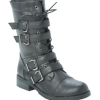 Black Four Buckle Strap Combat Boot