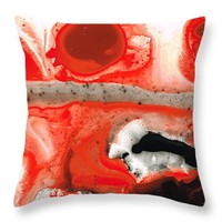 "All Things Considered - Red Black And White Art Throw Pillow 14"" x 14"""