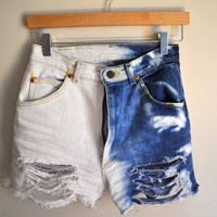 dip dyed & distressed high-waisted cutoffs