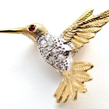14K Gold Diamond Hummingbird Pendant Brooch