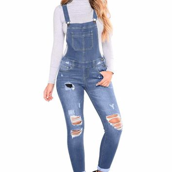 Medium Blue Wash Distressed Denim Overall