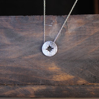 dainty compass necklace - silver
