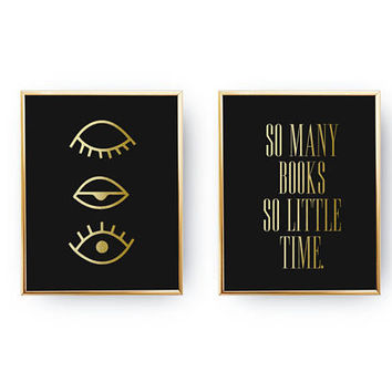 Set Of 2 Prints, Blinked Eye Print, Bedroom Poster, Real Gold Foil Print, So Many Books So Little Time Print, Typography Wall Art,Home Decor