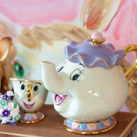 Promotion! Teaset Cartoon Beauty And The Beast Teapot Mug Mrs.Potts Chip Tea Cup