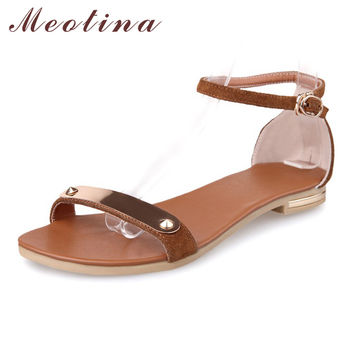 Meotina Genuine Real Leather 2017 New Women Sandals Summer Ankle Strap Flats Female Sequined Brown Flat Sandals Ladies Shoes