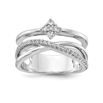 Sterling Silver CZ Triple Band Ring