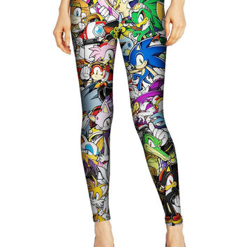 Sonic the Hedgehog Sega Video Games Print Leggings- Yoga Leggings - Yoga Tights - Workout Leggings - Art Leggings - Running Leggings