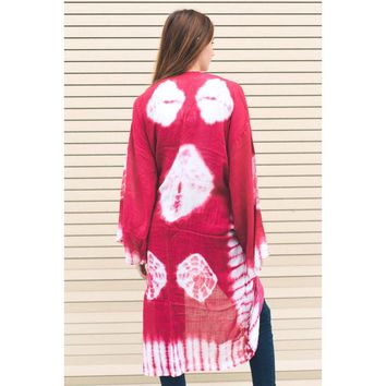 Tie Dye Long Line Kimono with Full Sleeves. One Size. 4 Colors Available