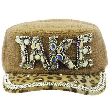 Take Military Style Faceted Hat Khaki