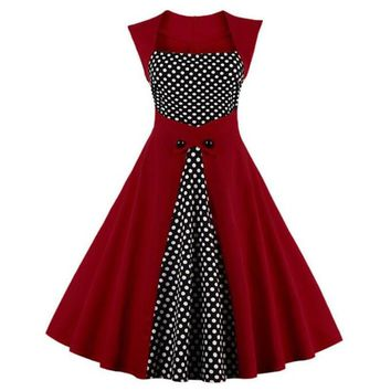 Women Robe Retro Vintage Dress 50s 60s Rockabilly Polka Dot Swing Pin Up Summer Party Dresses Elegant Tunic Vestidos Plus Size