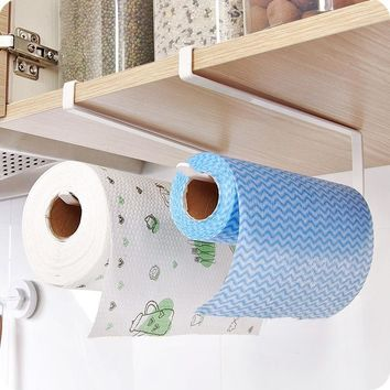 Under Cabinet Paper Towel Holder Roll Paper Towel Rack Stainless Metal Organizer(color:white)