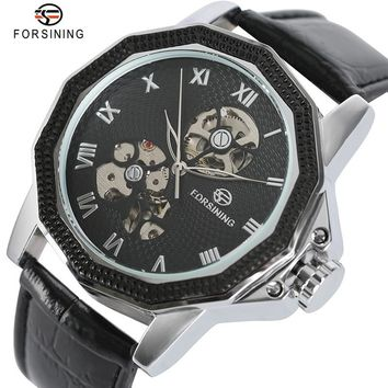 FORSINING High Quality Irregular Shape Design Case Men Mechanical Automatic Self-Wind Roman Number Dial Luxury Male Watches Gift