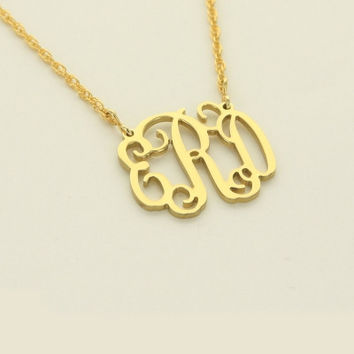 Small Monogram Cut Out Filigree Necklace