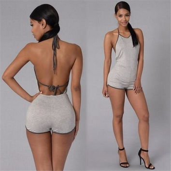 Casual Women Backless Playsuit Sexy Lady Halter Sleeveless Catsuit Women's Short Beach Jumpsuits Rompers Plus Size S-XL 2 Color