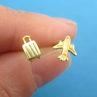 Travel Inspired Airplane and Suitcase Shaped Wanderlust Earrings