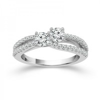 1ct tw Diamond Engagement Ring in 14K White Gold |