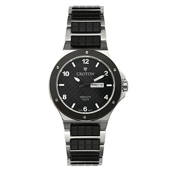 Croton Mens Ceramic & Stainless steel Black Day & Date Watch