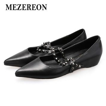 MEZEREON Fashion Shoes Woman Genuine Leather Ballet Flats Women Elegant Flats Girls Party Dress Shoes Zapatos Mujer