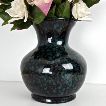 Vintage Black Turquoise Green Glossy Pottery Vase, Large Pottery Vase High Gloss, Black Green Speckle Splatter Dots Vase, Decorative Vase