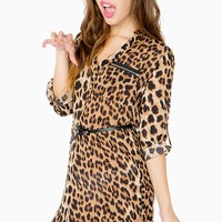 Zip Pocket Leopard Belted Shirtdress