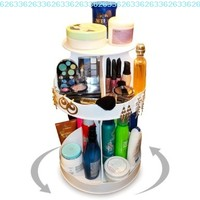 "Cosmetic Organizer that Spins ! Makeup is Now at Your Fingertips. Pretty in White & Perfect for any Countertop, Almost Triples Your Storage, Only 12"" needed & No More Clutter!! ...Proudly Made in the USA! by PPM.:Amazon:Beauty"