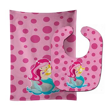Beach Mermaid Pink Hair Pamela Baby Bib & Burp Cloth BB8828STBU