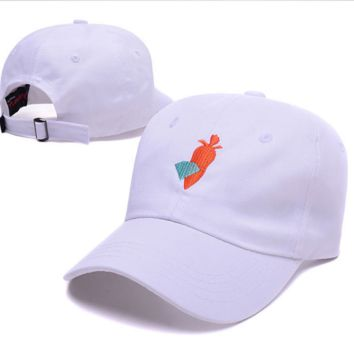 Fashion White Diamond & Carrots Embroidered Unisex Adjustable Cotton Sports Cap Hat