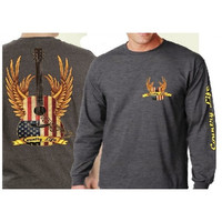 Country Life Outfitters USA American Flag Guitar Wings Vintage Unisex Gray Long Sleeves Bright T Shirt