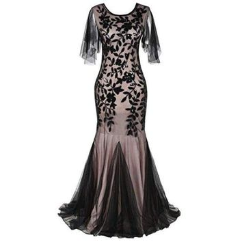 1920s Maxi Long Prom Gowns Sequin Mermaid Hem Evening Dress With Sleeves