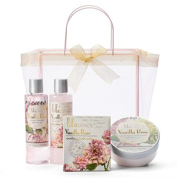 Lila Grace 4-pc. Vanilla Rose Organza Tote Gift Set (Pink)