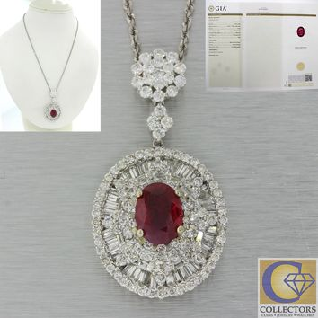18k White Gold 7.55ctw Natural Ruby Cluster Diamond Pendant Chain Necklace GIA