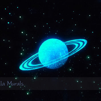 Glow in the Dark Star Ceiling Poster | Planet for Space Themed Kids Room