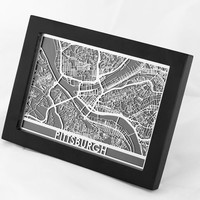 Stainless Steel Pittsburgh Pennsylvania Cut Map