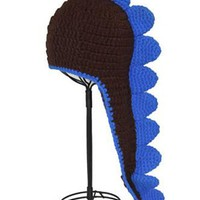 Black And Blue Dinosaur Knit Hat - CCN32 CLOSEOUT