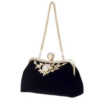 Female Velvet Diamond Pearl Handbag Vintage Velour Crystal Flower Design Evening Bag Wedding Party Bride Clutch Velour Bag Purse