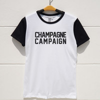 S M L XL -- Champagne Campaign Shirts Funny Shirts Tumblr Tshirts Cool Tshirts Women Tshirts Men Tshirts Short Sleeve Baseball Jersey Shirts
