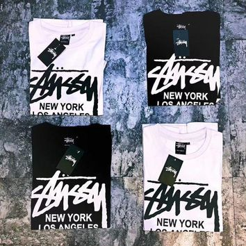 DCCKR2 Stussy X Supreme Stylish Women Men Casual Short Sleeve Round Collar T-Shirt Top Blouse I