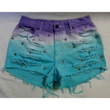 High Waisted Puple and Teal Dyed Hipster Festival Fringed Denim Shorts