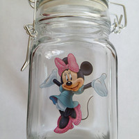 Minnie Mouse Gift Jar Disney Trinket Jar. Party Centerpiece Candy trinkets buttons notions Nursery