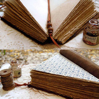 Triangulus - Unique Triangle Leather Journal, Large, Tea Stained Pages, OOAK
