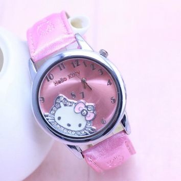 Hello Kitty Watch Cartoon Clock Girl Children Lovely Wrist Watches Kids Cute Child Brand Casual Hodinky Ceasuri Criancas