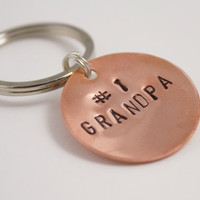 Number One Grandpa Grandparent's Day Handstamped Copper Keychain - Father's Day, Gifts for Men, Grandpa Gift