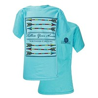 Southern Couture Preppy Follow Your Arrow Comfort Colors Lagoon Blue Girlie Bright T Shirt