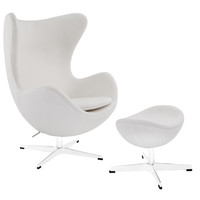 Glove Wool Lounge Chair and Ottoman Set in White